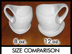 Visual size comparison of 8 oz. and 12 oz. mugs.